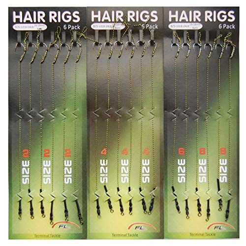 SILANON Fishing Leader Rigging Carp Rigs - 36PCS Carp Fishing Terminal Hair Rigs Braid Line Wide Gape Hook Anti-Tangle Rig Lure Connector Strength 12lb-24lb Size 2 4 6(36pcs) (Best Carp Rigs For Summer)
