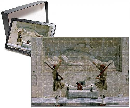 Evzone Guards (Photo Jigsaw Puzzle of Evzones guards in front of Greek Parliament building)