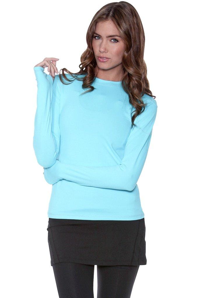 BloqUV Women's Mock Zip Hoodie, Light Turquoise, X-Small