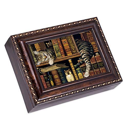 Cottage Garden Sleeping Cat On a Bookshelf Burlwood Rope Trim Jewelry Music Box Plays Canon in D