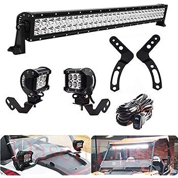 POLARIS RZR 900 1000 Roof 180W Light Bar+45W LED Pods+Brackets Kit 3 LEAD Wiring