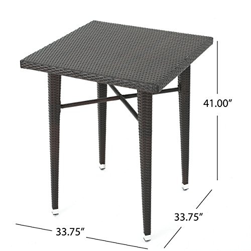 Dom Outdoor 32.5 Inch Square Multibrown Wicker Bar Table by Christopher Knight Home (Image #3)