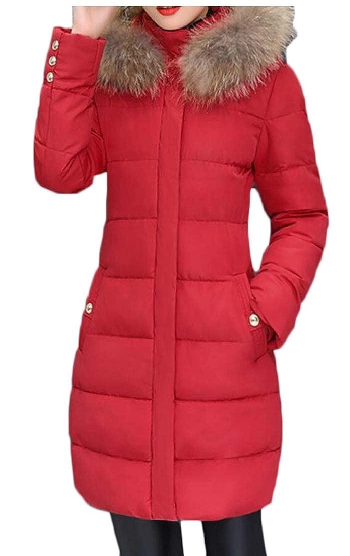 Red Keaac Women's Down Coat Winter Warm Faux Fur Hooded Puffer Jacket