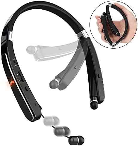 Bluetooth Headphones, Pandawill 30Hr Playtime V4.1 Bluetooth Headset with Noise Cancelling Earbuds [Motorcycle Foldable Neckband Design] Wireless Helmet Headphones ,Easy Exercise and Fun(Black)