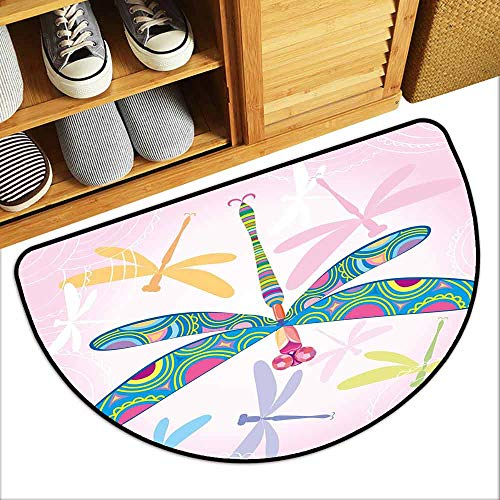 Drama Queen Dragon - DILITECK Thin Door mat Dragonfly Decorative Vibrant Dragonfly Kids Figure in Various Tones Wildlife Graphic Art Easy to Clean W30 xL18 Multicolor