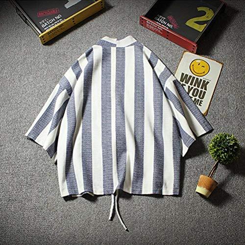 Front Huixin Youth Drawstring Apparel Sleeve Open 3 Cotton Jacket Windbreaker Blue Cloak Men's Loose Navy Casual Kimono Linen Short Stripe 4 Bq8Bwr