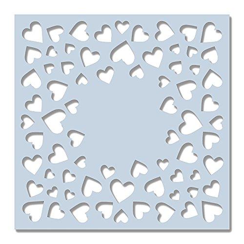 Sweet Dixie 15,2x 15,2cm stencil–cuoricini, off/bianco 2cm stencil-cuoricini SDST0045