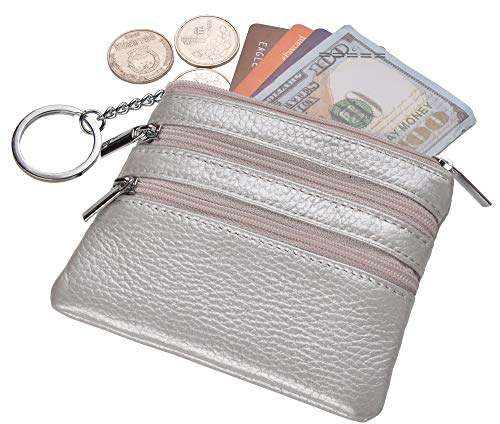 (Yeeasy Womens Mini Coin Purse Wallet Genuine Leather Zipper Pouch with Key Ring (Silver))