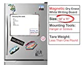 Small Magnetic White Board Refrigerator Writing Board Dry Erase with Aluminum Frame and Mounting Brackets/Hangers (14x11 - inch)