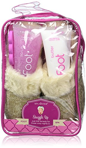 Bath Accessories Cable-Knit Slippers Foot Spa Set, Rasberry Sorbet/Oatmeal