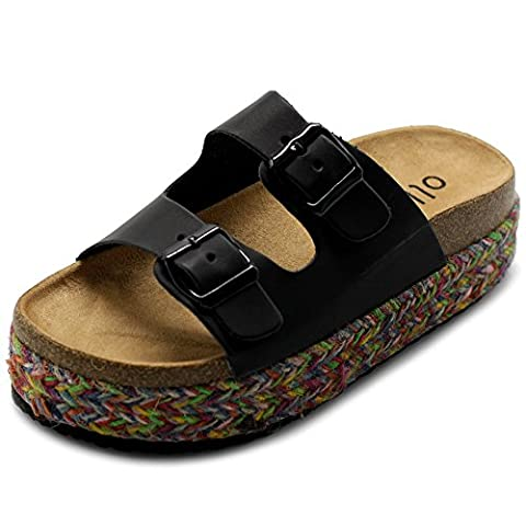 Ollio Women's Shoe Slip On Boho Two Strap Platform Espadrilles Cork Sandals GAGE04 (7 B(M) US, - Cork Platform Sandals