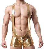 TESOON Men Sexy Wrestling briefs Leather Underwear Bodysuit PantTESOON Men Sexy Wrestling briefs Leather Underwear Bodysuit Pant Golden Large,Golden,Medium