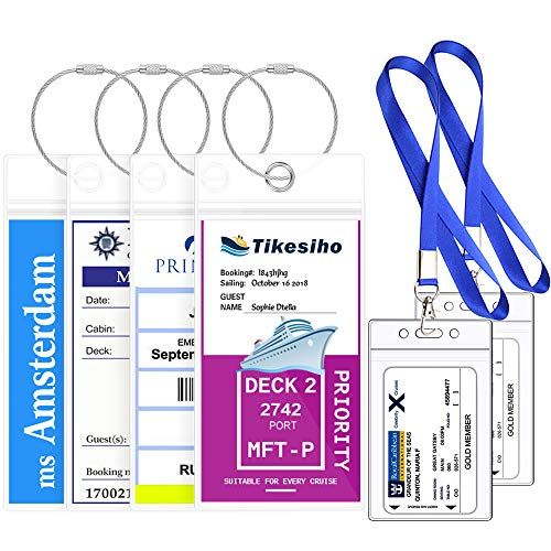 (Cruise Luggage Tags Essentials Etag Holders Zip Seal for Royal Caribbean Norwegian Celebrity Cruise(4 Pack+2 ID Holders))