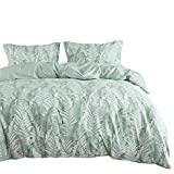 Wake In Cloud - Leaves Duvet Cover Set, 100% Cotton Bedding, Tropical Palm