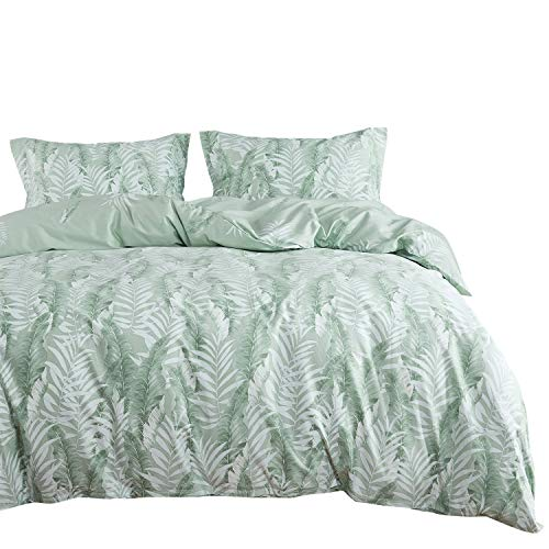 Wake In Cloud - Leaves Comforter Set, 100% Cotton Fabric with Soft Microfiber Fill Bedding, Tropical Palm Banana Tree Pattern Printed in Green White (3pcs, Twin Size)