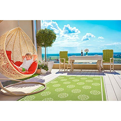 1 Piece Modern Beach Style 8x10 Area Rugs Lime Green Indoor/Outdoor Rug Beautiful All Over Floral Print Border Stripe Geometric Rug, Elegant Coastal Nautical Sea Life Inspiration High-Traffic Moderate
