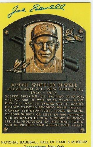 Joe Sewell Autographed Hall Of Fame Plaque - Autographed MLB Photos