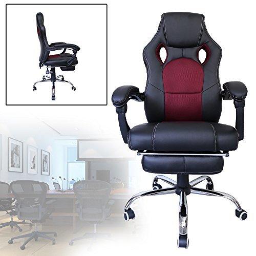 Hengda® Bürodrehstuhl Gaming Stuhl Komfort gepolsterte Premium Armlehnen Racing Stuhl Belastbarkeit 200 kg Höhenverstellbar schwarz rot