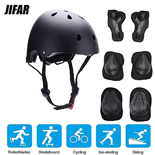 JIFAR Youth Kids Bike Helmet for Ages 3-14, Adjustable Toddler Protective Gear with Elbow Knee Wrist Pads for Skateboarding Bicycling Hiking, S Size for Girls Boys Helmet Black