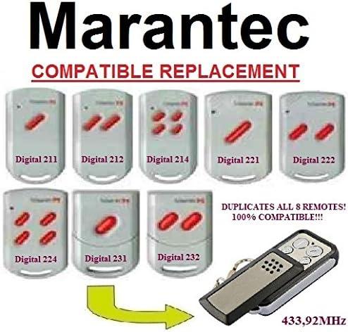 Digital 214 Digital 222 Marantec Digital 211 Digital 231 Digital 224 Digital 212 Digital 221 Clone Remote Digital 232 Remplacement T/él/écommande 433,92 MHz