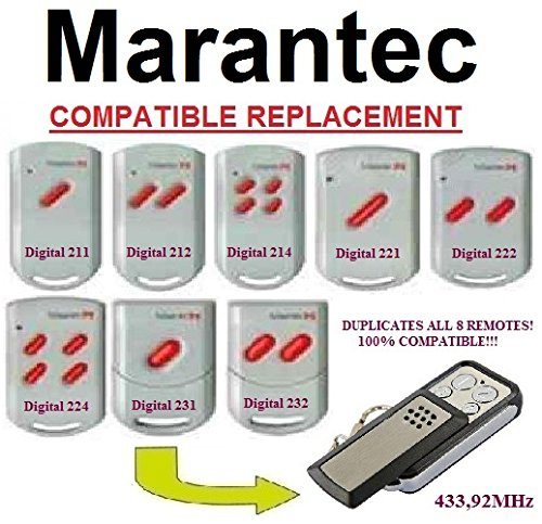 Marantec Digital 211 / 212 / 214 / 221 / 222 / 224 / 231 / 232 compatible CLONE remote control replacement transmitter, 433,92Mhz fixed code clone!!!
