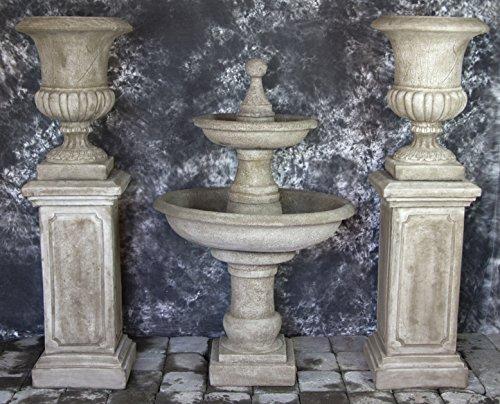 Palazzo Urn - RAVELLO 2 TIER FOUNTAIN w/POMPEII PEDESTALS & ITALIAN PALAZZO URNS PACKAGE #1029