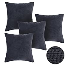 Deconovo Dark Grey Corduroy Throw Cushion Case Pillow Cover Durable for Chair, 18x18-inch, Set Of 4