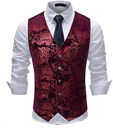 Red Red Paisley Men/'s Vest Longtie and Pocket Square 3pcs Set for all formal or casual occasion Prom Wedding Party