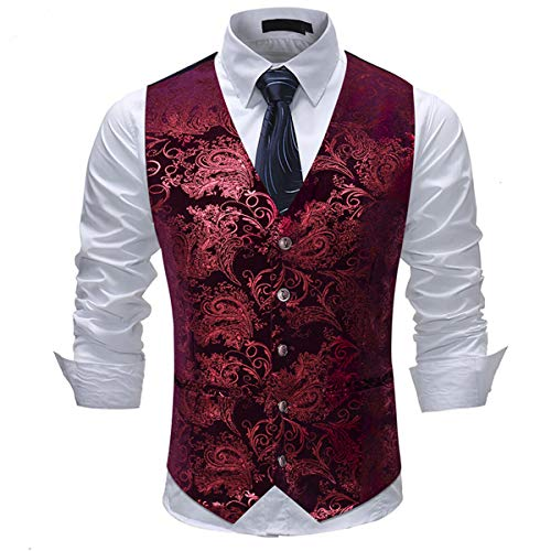 Cloudstyle Mens Single Breasted Vest Dress Vest Slim Fit Paisley Printed Prom Formal Suit Vest Waistcoat
