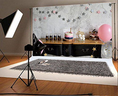 Laeacco Vinyl 7x5ft Photography Background Cake Holiday Happy Birthday Party One First Birthday Decoration Cake Table Star Balloons Painted White Wall Backdrops Portraits Shooting Video (Halloween Scenery Background)