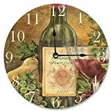 Cheap Stupell Home Décor Grapes Of Tuscany Decorative Vanity Wall Clock, 12 x 0.4 x 12, Proudly Made in USA