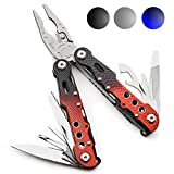 14-in-1 Folding Pocket Pliers with Knife by Thomas Weyker - Hardened Stainless Steel with Nylon Stealth - Perfect for Home, Travel, Camping, Survival, Fishing (Black/Red)