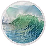 Pixels Round Beach Towel With Tassels featuring ''Waves'' by Marianna Mills