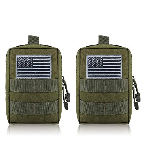 FUNANASUN MOLLE Pouches - 2 Pack Tactical Compact Pack Water-Resistant Utility EDC Pouch Small Black with US Flag Patch (Green)