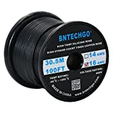 BNTECHGO 16 Gauge Silicone Wire Spool Black 100 feet Ultra Flexible High Temp 200 deg C 600V 16 AWG Silicone Rubber Wire 252 Strands of Tinned Copper Wire Stranded Wire for Model Battery Low Impedance