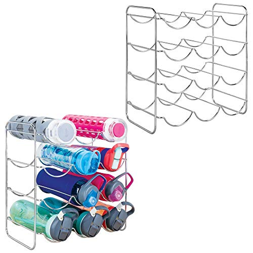 mDesign Metal Free-Standing Water Sports Bottle and Wine Rack Holder Stand for Storage Organizing in Kitchen Cabinet Countertops, Pantry - Each Holds 12 Bottles, 2 Pack - Chrome ()