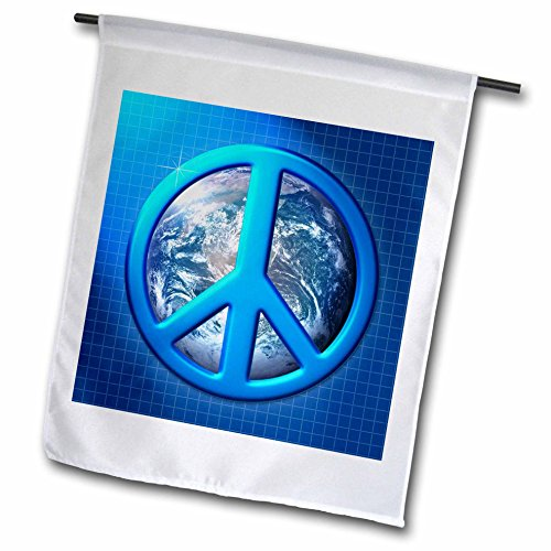 3dRose fl_18146_1 Peace on Earth Large Blue Peace Sign Over The Planet Earth Garden Flag, 12 by 18-Inch (Blue Peace Sign Garden Flag)