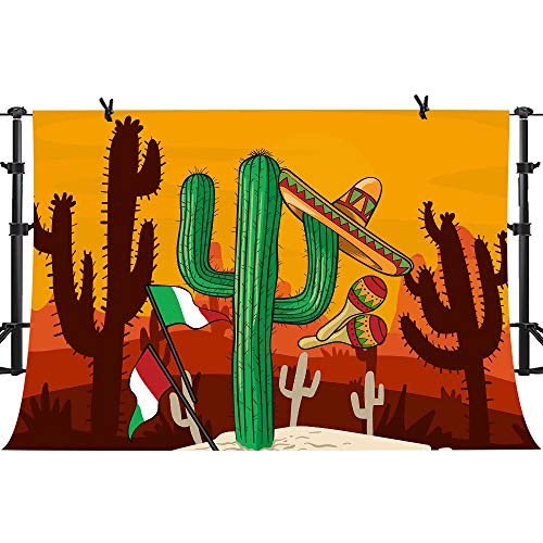 (PHMOJEN Mexico Flag Cactus Hat Photography Backdrop Vinyl 10x7ft Photo Booth Props Background LHPH297)