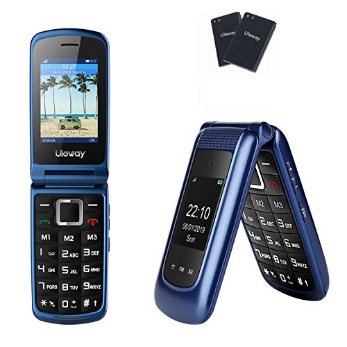 Uleway 3G Flip Phone Unlocked SOS Button Dual Screen Senior Flip Phone Unlocked Basic Cell Phone for Senior&Kids (Blue)