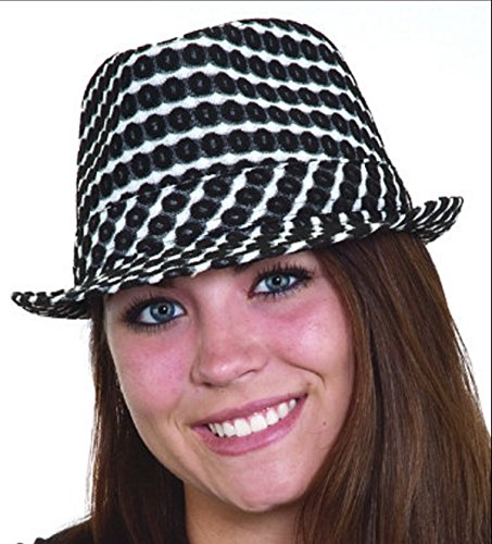 Womens Black and White Jacquard Pattern Fedora Gangster Hat Costume (Checkered Fedora Adult Hat)