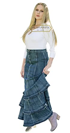 3d42345c12 ALSHARIFA 42 quot  Extra Long Denim Belle Skirt - Modest Jeans