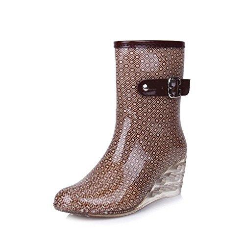 Alger Fashion side zipper non-slip rain boots, gray, 40