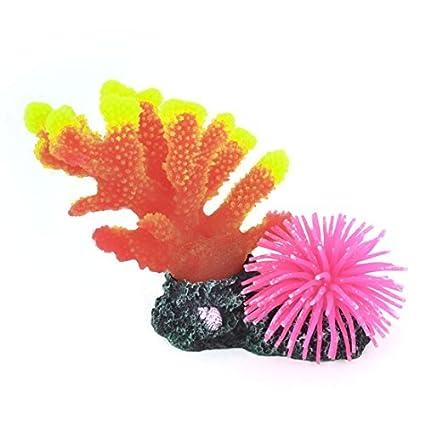 Amazon.com: eDealMax Suave de silicona acuario anémona Coral ornamento, Fucsia/Naranja / Amarillo: Pet Supplies