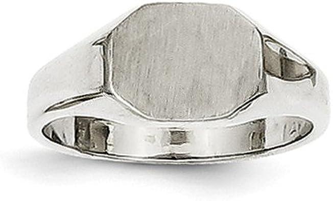 14k White Gold Signet Ring Size 6 Length Width 3