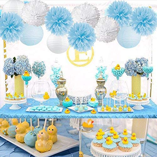 Elephant Baby Shower Decorations for Boy-IT'S A BOY Banner Baby Blue mix White Tissue Pom Poms Paper Lanterns with Balloons Set for Welcome Baby Party Newborn Party 1st Birthday Party Supplies
