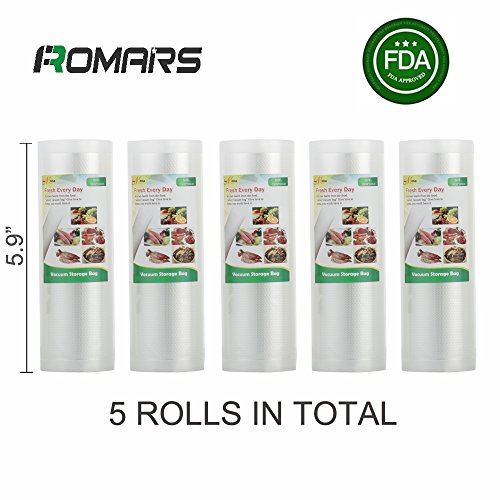 5 Rolls of Romars 4 mil Commercial Grade Vacuum Sealer Bags – Make Your Own Size Bag! – for Foodsaver, Seal-A-Meal, plus other machines (5.9″ x 16.4′)