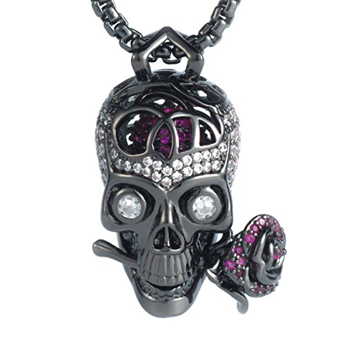Karseer Gothic Filigree Sugar Skull and Everlasting Rose Charm Pendant Necklace with Crystal Brain Hidden Floating Inside, 24