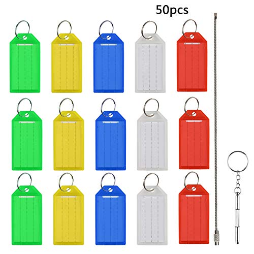 MEZOOM Key Oranizer Management Key Chains Holder Key Tags with Split Rings Label Window Assorted Colors to Identifty Sort and Store Keys (50 Pcs)