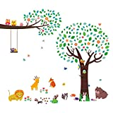 Decowall DM-1312P1410 Large Tree with Animal Friends and Branch with Owls Kids Wall Decals Wall Stickers Peel and Stick Removable Wall Stickers for Kids Nursery Bedroom Living Room
