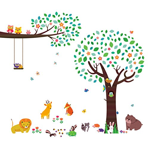 Creek Deer Corner (Decowall DA-1312P1410 Large Tree with Animal Friends and Branch with Owls Kids Wall Decals Wall Stickers Peel and Stick Removable Wall Stickers for Kids Nursery Bedroom Living Room)